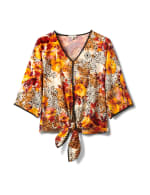 Kimono Sleeve Patchwork Tie Front Top - Gold/Mauve - Front