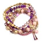 Purple Lover Multi-Beaded Bracelet - Purple - Back
