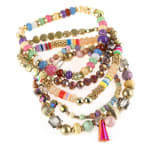 Light And Bright Colored Multi-beaded Stretch Bracelet - Multicolored  - Back