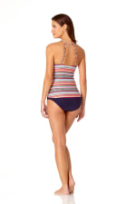 Anne Cole® Jet Set Stripe High Neck Tankini Swimsuit Top - Multi - Back
