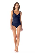 Anne Cole® Live in Color Underwire Tankini Swimsuit Top - Navy - Front