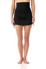 Anne Cole® Live in Color Tummy Control Swimsuit Skirt Bottom - Black - Front