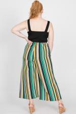Colorful Nylon Striped Romper - Green - Back