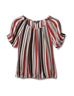 Multi Stripe Bubble Hem Blouse - Offwhite/Black/Rust - Front