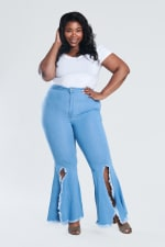 Jeans Ft A Sexy Split Fare - Light stone - Front