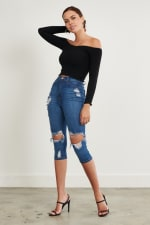 Ripped Denim Capri Pants - Medium stone - Front