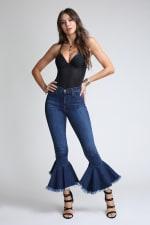 Asymmetrical Bell-Bottom Flare Jeans - Medium stone - Front