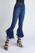 Asymmetrical Bell-Bottom Flare Jeans - Medium stone - Detail