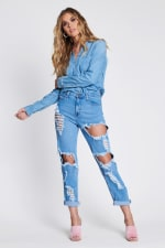 Savage Distressed Mom Jeans - Medium stone - Front