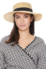 Spring/Summer Flat Top Wide Brim Women's Hat - Honey gold  - Front