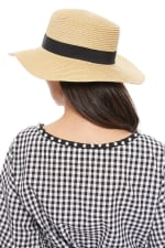 Spring/Summer Flat Top Wide Brim Women's Hat - Honey gold  - Back