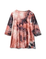 Lattice Neck Tie Dye Knit Top - Pink/Blue - Back