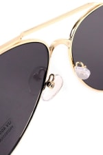 Gold Metal Frame Aviator Sunglasses - Gold - Detail