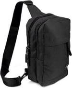 Crossbody Sling Bag W/ Reversible Strap - Black - Front