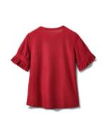 Ruffle Sleeve Clip Dot Tee - Burgundy - Back