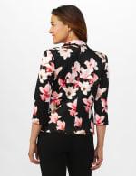 Floral Print Scuba Crepe Faux Pocket Jacket - Black/Light Flamingo - Back