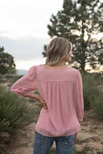 Crochet Textured Blouse - Blush - Back