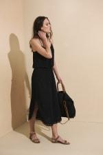 Lisa Midi Dress - Black - Front