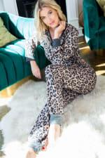 Leopard Print Pants - Mocha - Front