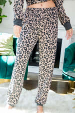 Leopard Print Pants - Mocha - Detail