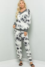 Casual Tie Dye Pants - Ivory - Front