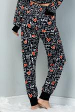 Heart x Love Elastic Casual Pants - Black - Back