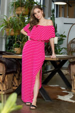 Off-shoulder Striped Maxi Dress - Fuchsia / Ivory - Front