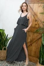 Striped Maxi Dress - Black / Ivory - Detail