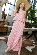 Striped Maxi Dress - Rose / Ivory - Front