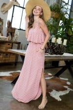 Striped Maxi Dress - Rose / Ivory - Detail