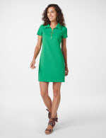 Polo Collar Zip Dress - green - Front