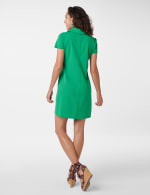 Polo Collar Zip Dress - green - Back