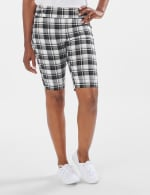 Cuffed Bermuda Short with Tab Waist Detail - White/Black/Brown - Front
