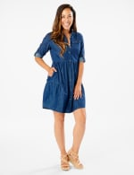 3/4 Sleeve Denim Shirt Dress - Dark Wash - Front