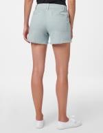Fly Front Slash Pocket Short with Fray Hem - Aqua Mint - Back