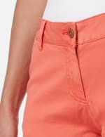Fly Front Slash Pocket Short with Fray Hem - Watermelon - Detail