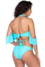 Two Piece Off-Shoulder Strappy Bikini - Blue - Back