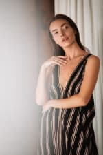 Striped Loose Dress - Black stripe - Detail