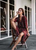 Kaftan Striped Dress - Red stripe - Front