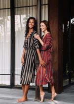 Kaftan Striped Dress - Red stripe - Detail