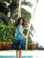 Falling Floral Fit and Flare Dress - Misses - Navy/Teal - Back