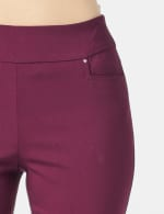 Superstretch Pull On Pants with Rivet Trim L Pockets - Plum - Detail