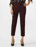 Superstretch Ankle Pants with Button Detail at the Hem - Cabernet - Front