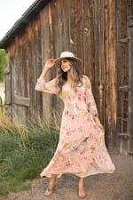 Veronica Peasant Maxi Dress - Cantaloupe - Front