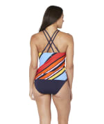 Nautica® Newport Stripe High Neck Tankini Swimsuit Top - Multi - Back