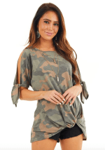 Twist Front Camo Cold Shoulder Tee - Camo - Front