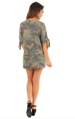 Twist Front Camo Cold Shoulder Tee - Camo - Back