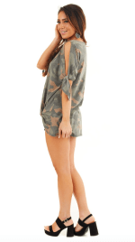 Twist Front Camo Cold Shoulder Tee - Camo - Detail