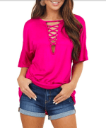 Low V Laced Oversized Tee - Pink - Front