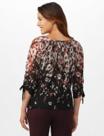 3/4 Sleeves Placed Border Bubble Hem Blouse - Black/Mauve - Back